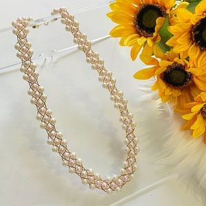 Trifari Faux Pearl Gold Necklace Pink Gold